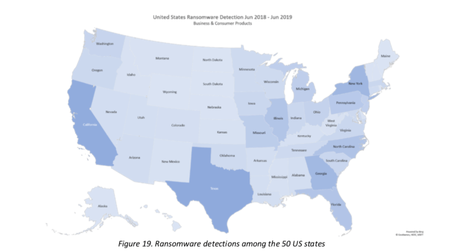 Map showing ransomware detections in the U.S.