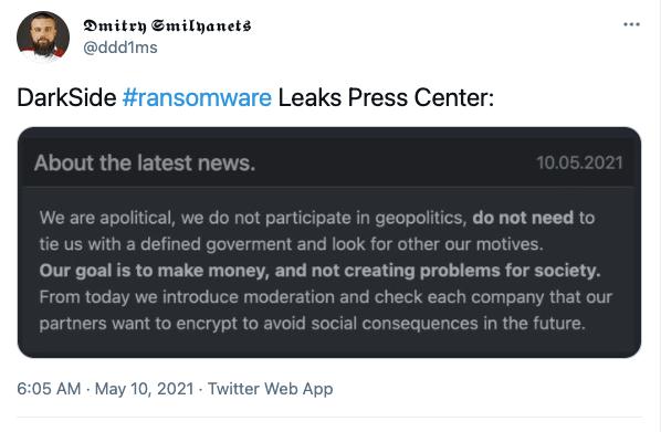 Twitter post of DarkSide statement