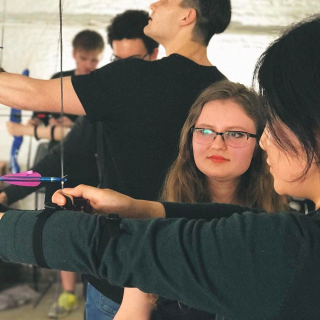 lluxcor coaching beginners at todays Archery Stressbuster This event ishellip