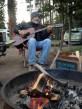 Guitar + campfire + bison bull (just off camera) make for a splendid evening.