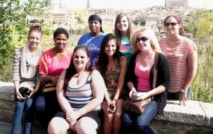 Mount Mary College students studying abroad enjoy the experience despite their teacher's hospitalization. Elisabeth Pohle, Jamila Pugh, Sara Bolster, Tiyara Townsend, Alma Ramirez, Erinn Kulba, Holly Kleinke and Anna Kleber take time to do some sightseeing.