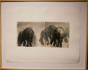 In the Field: Herd - lithograph and intaglio on frottage and waxed Okawara