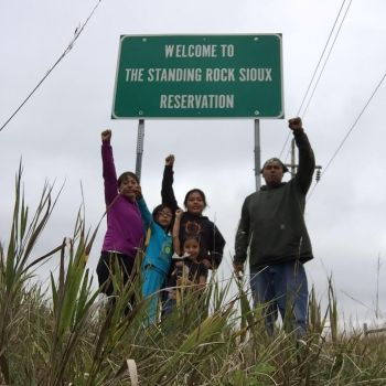 Iktomi Waste Winyan Favel and her family arrive at Standing Rock Reservation