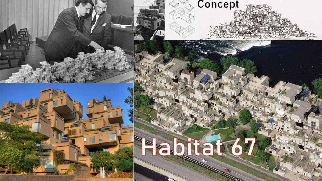 Moshe Safdie conceptualized Habitat 67 for his master-level academic thesis at McGill University. A former thesis advisor advised Safdie to develop Habitat's master plan for the world fair of Expo 67 at Montreal. Thus, Safdie modified his planning and contemplated his thesis for pavilion design. These plans incorporate colossal detailing and the government in Ottawa praised and sanctioned them. Thus, Safdie won the opportunity to work as a principal architect, despite his youth and professional novelty.