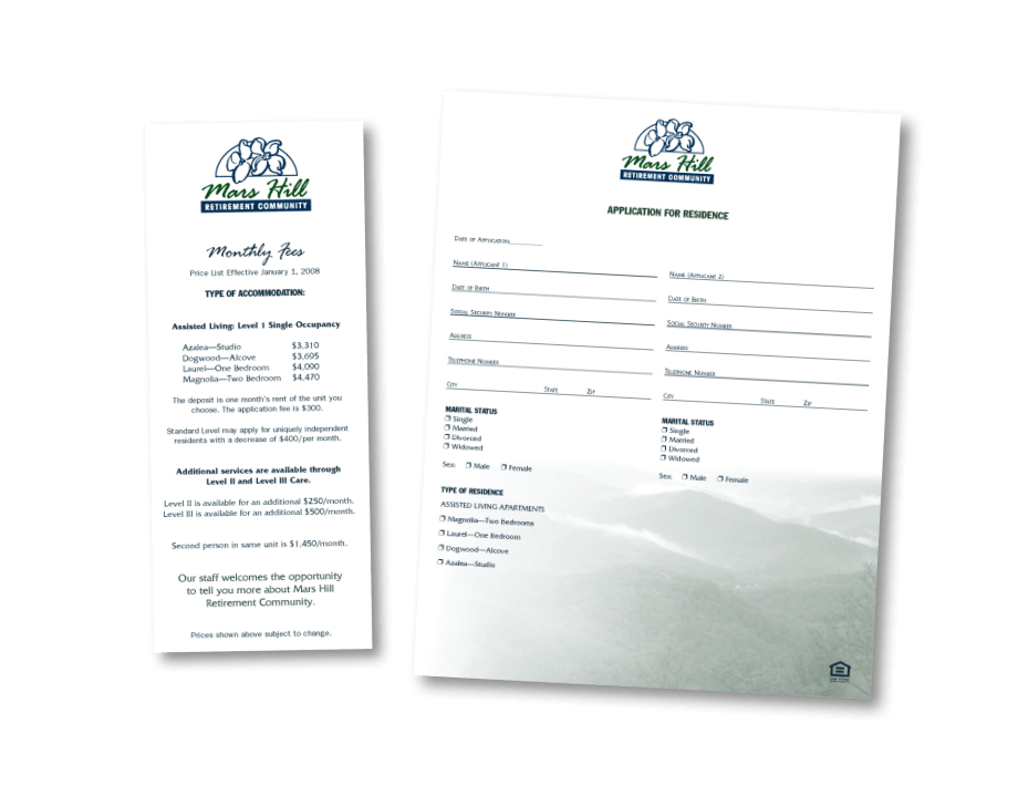 Raleigh Graphic Design Firm Sample fact sheets for Mars HIll Retirement Community