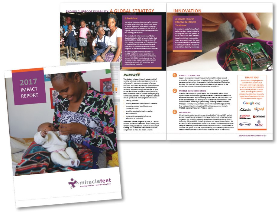 Miracle Feet Annual report 17 graphic design sample