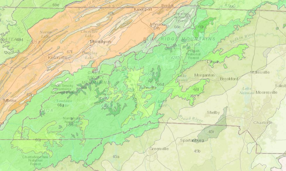Southern Blue Ridge EPA ecoregions