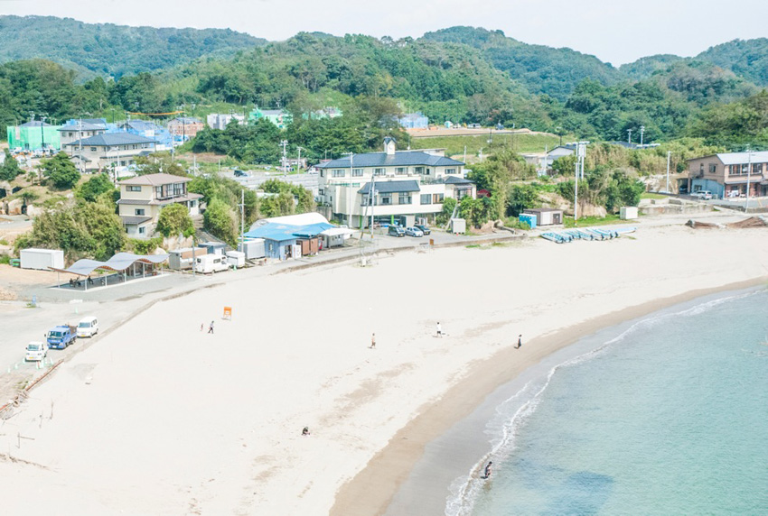 Aerial View of th beach with the Home for All Shelter in Tsukihama by SANAA