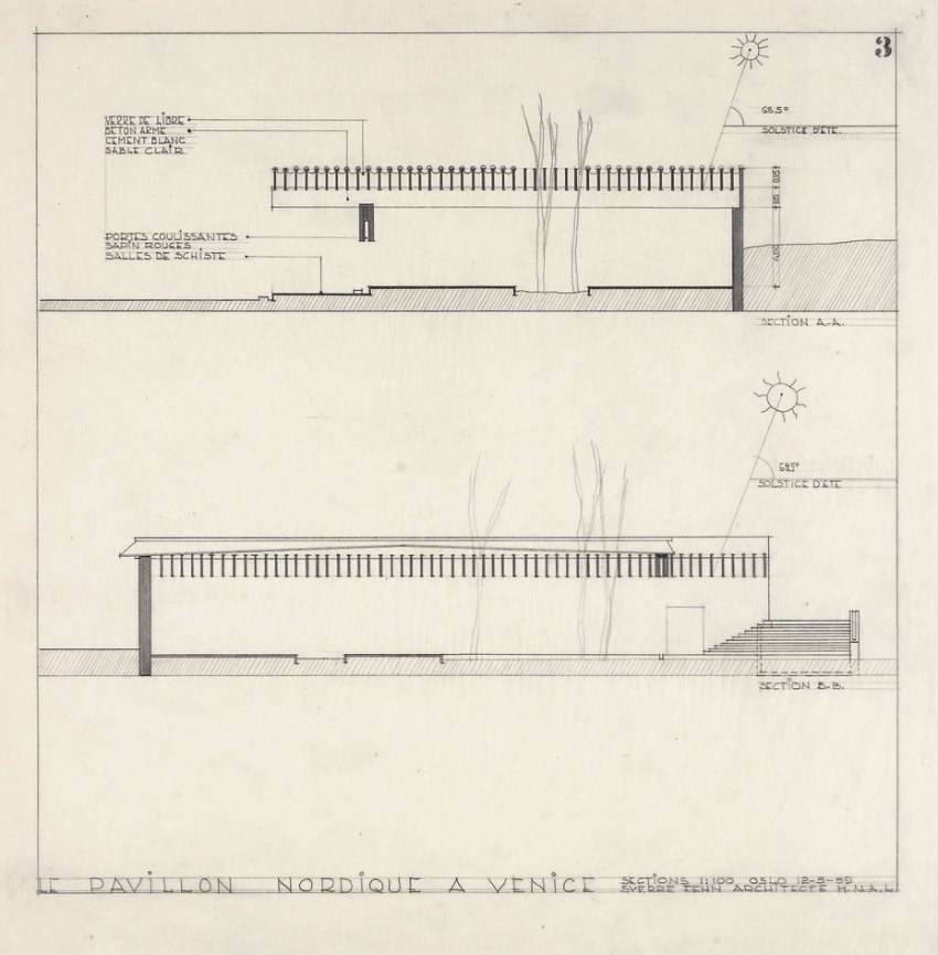 Sections of the Nordic Pavilion in Venice by Sverre fehn