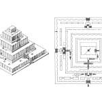 Axonometric and floor plan of a Ziggurat