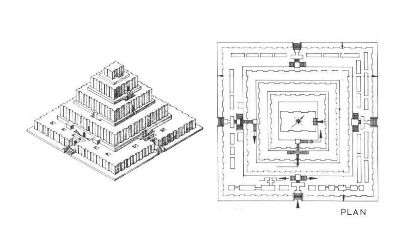 Floor plan and axonometric drawing of Ziggurat at Chogha Zanbil (1300 BC), Iran