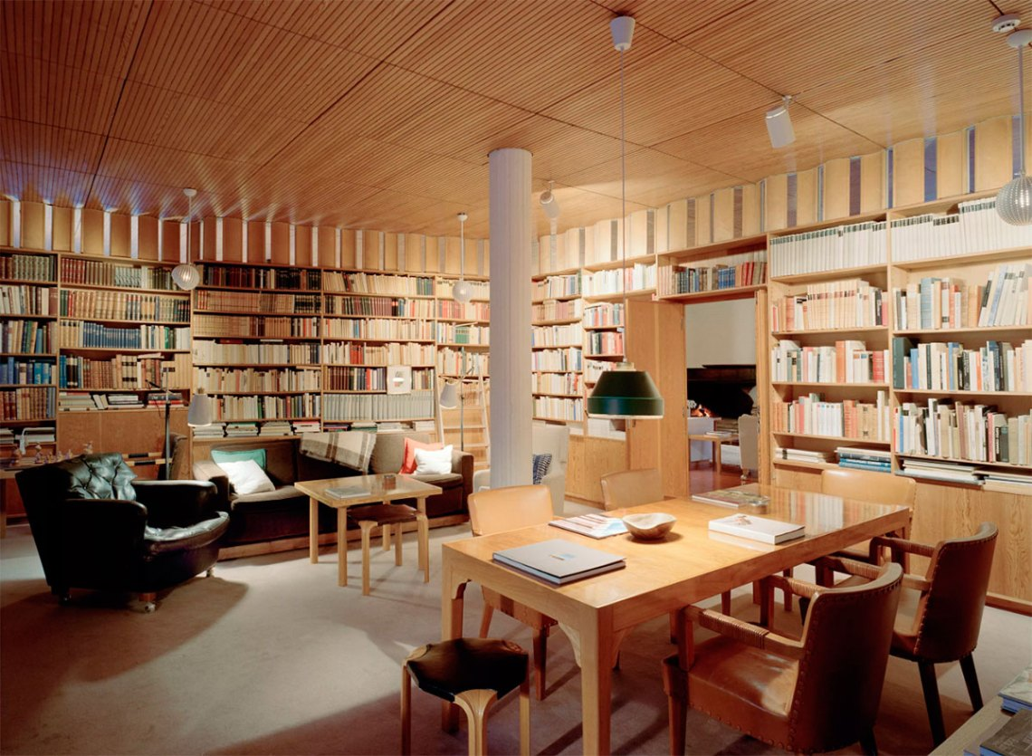 Interior wood library of Villa Mairea by Alvar Aalto