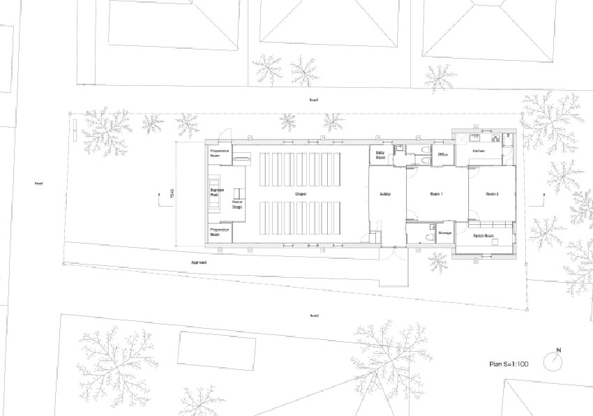 Floor Plan - Shonan Christ Church / Takeshi Hosaka Architects