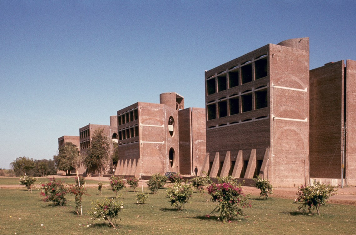 Exterior View of the Indian Institute of Management brick facade by Louis Kahn