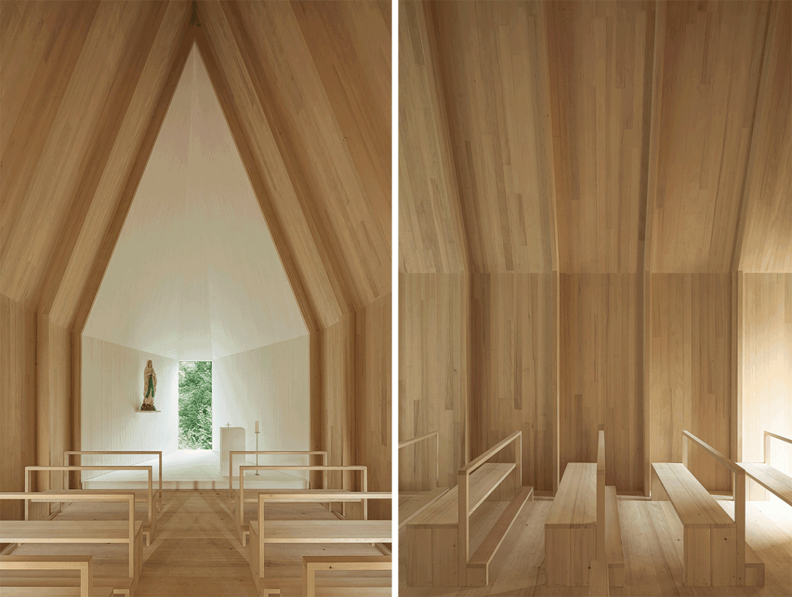 Wood interior of the Salgenreute Chapel by Bernardo Barder Architects