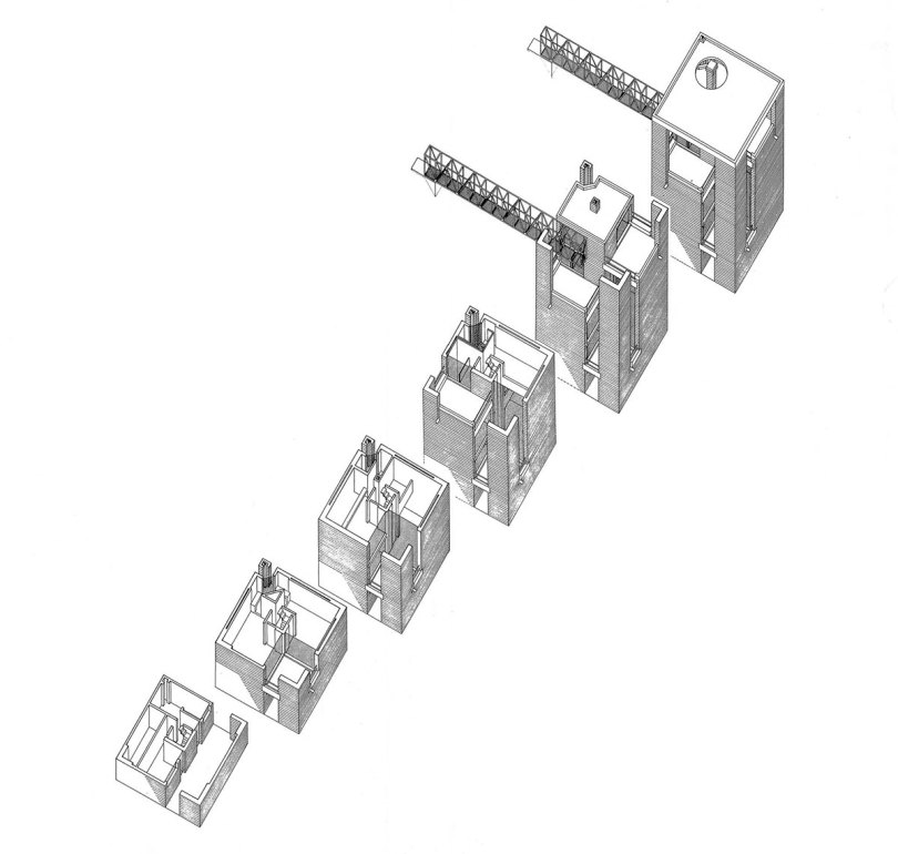 Axonometric Plan View Bianchi House by Mario Botta