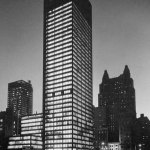 Night photograph Seagram Building in New york by Mies Van Der Rohe