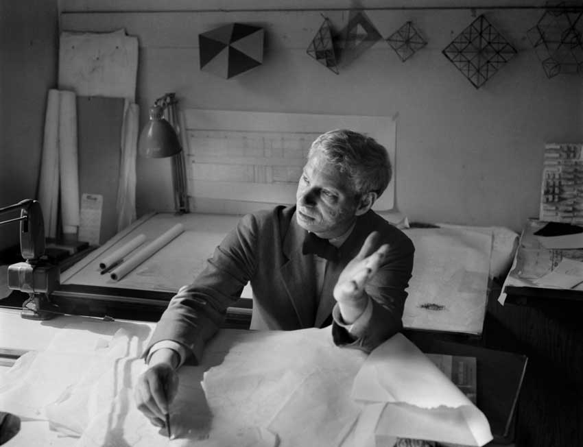 Louis Kahn portrait at his office