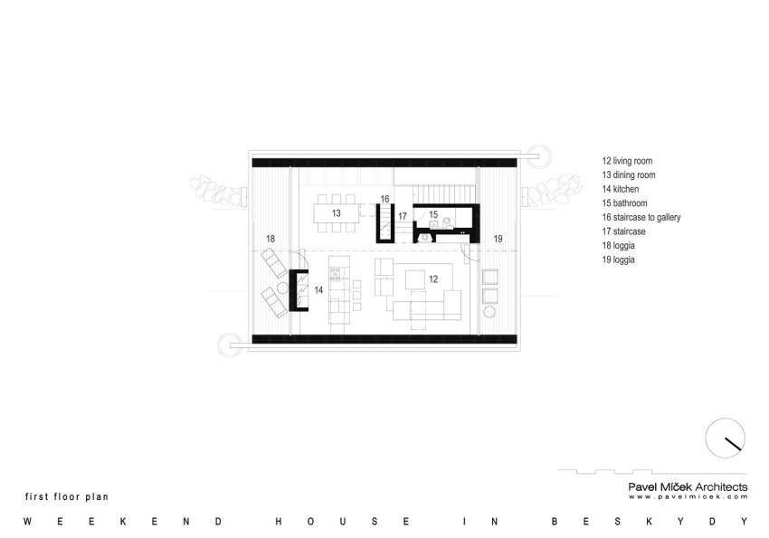 Floor Plan Weekend House in Beskydy / Pavel Míček Architects