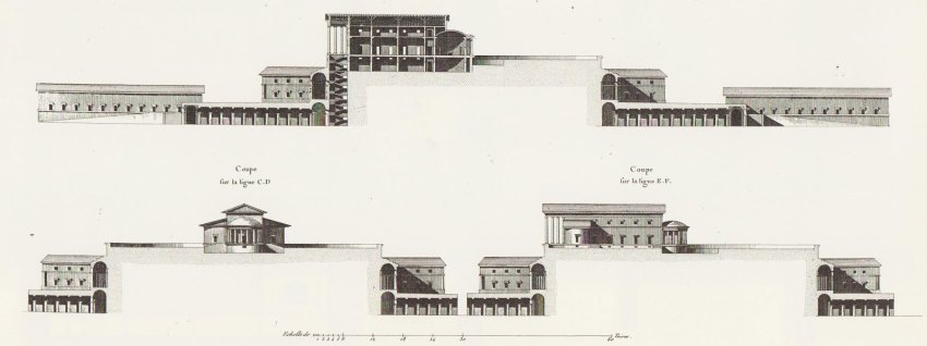 Section of the Oikema House of Pleasure building by Ledoux