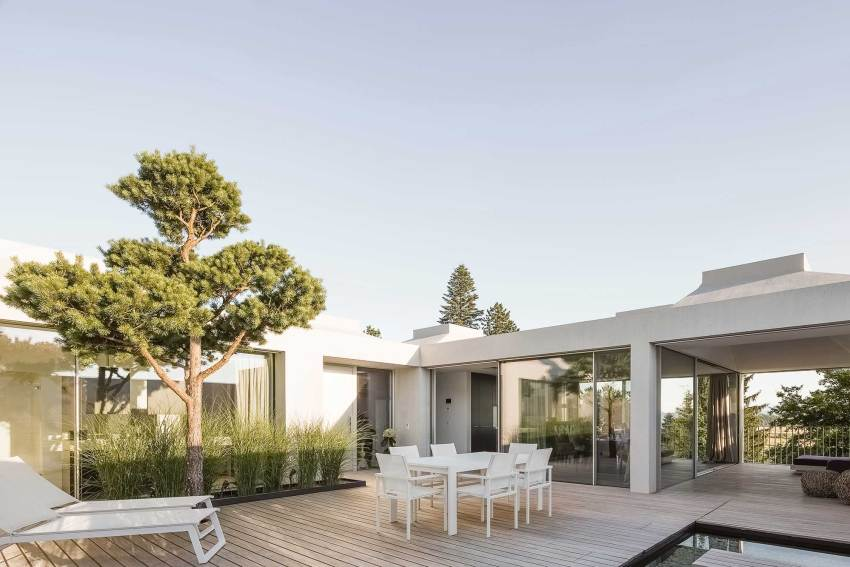 Patio - Courtyard Houses in Zumikon / Think Architecture