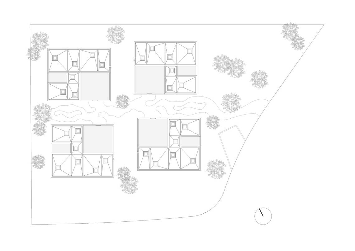 Site Plan - Courtyard Houses in Zumikon / Think Architecture