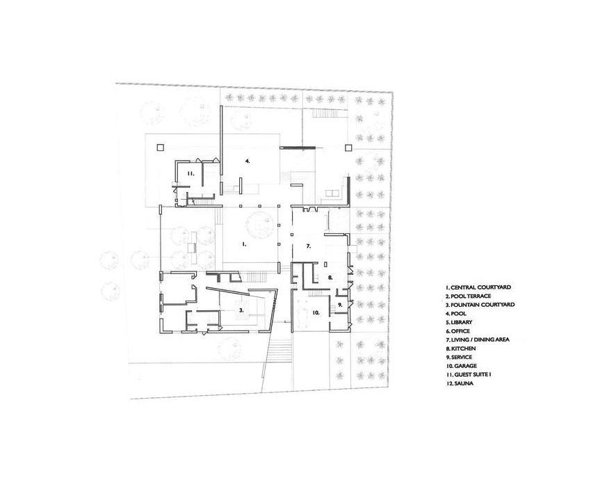 Floor Plan of the House Adrenaline in Sotogrande / Legorreta + Legorreta