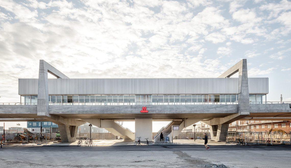Symmetrical View - Orientkaj & Nordhavn Metro Stations in Copenhagen / Cobe & Arup