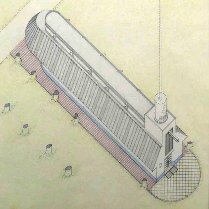 Axonometric- Bookshop Pavilion in Venice, / James Stirling, Michael Wilford, and Associates