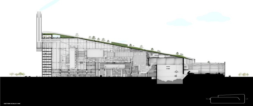 Section of CopenHill Waste-to-Energy Plant & Sport Facility / BIG-No-Text_Drawing-by-BIG-Bjarke-Ingels-Group