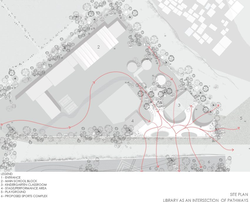 Site Plan - Maya Somaiya Library and Sharda School / Sameep Padora and Associates