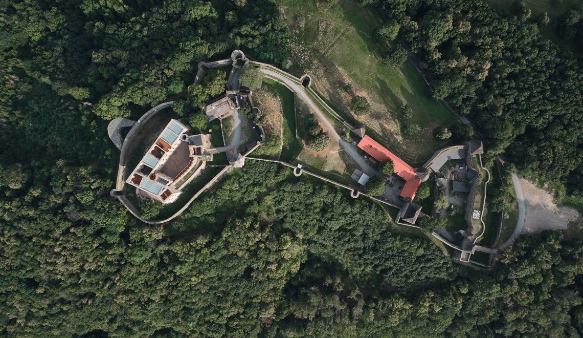 Aerial Top View - Helfštýn Castle Palace Reconstruction / Atelier-r