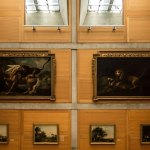 Paintings on wood wall - Yale Center for British Art / Louis Kahn