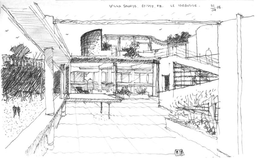 Villa Savoye House Le Corbusier building Poissy France ArchEyes perspective