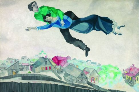 Marc Chagall, Over the Village (1918)