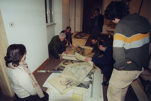 Pellegrin reviewing drawings - Photo: courtesy of Sergio Bianchi