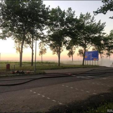 07-08-2020 Brand elektrische auto Stadskanaal. Ter assistentie geweest met de LIA ( lichtaanhanger )