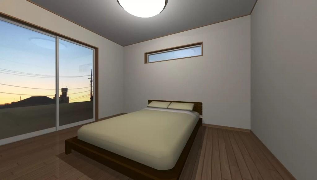 シーリングライトある寝室