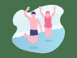 Illustration fun de deux adultes sautant dans un bassin