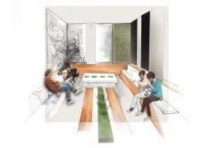 Well-being centre: Conversation area near juice bar
