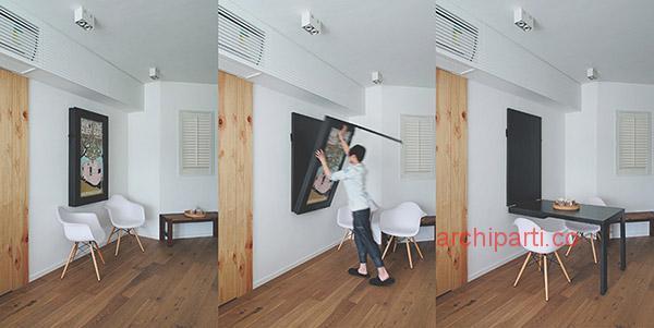 Interior design small apartment fold down table