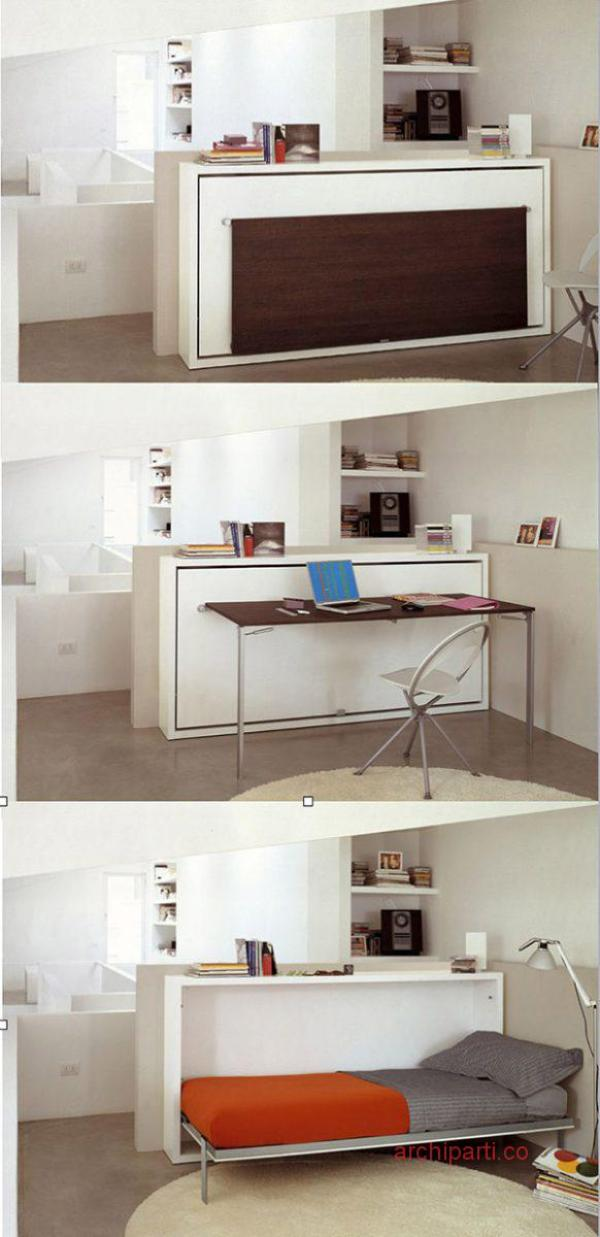 small apartment in Hong Kong wall bed and fold-down desk