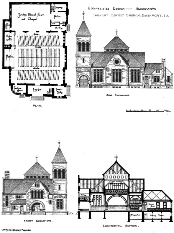 1889 – Design for Calvary Baptist Church, Davenport, Iowa