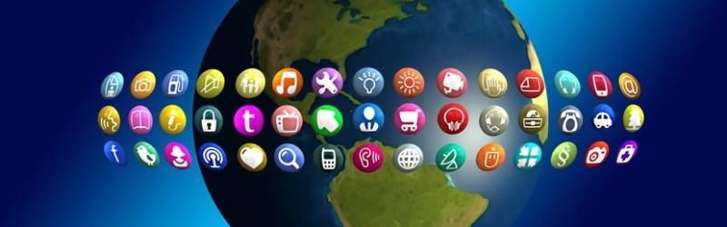 Globo terráqueo con iconos de apps