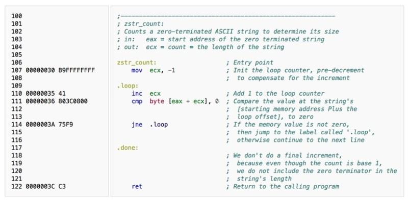 Código ensamblador (ejemplo)