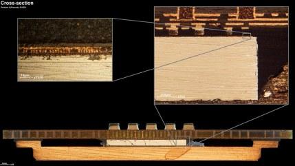 En esta imagen se puede ver el sustrato del Prescott en una sección lateral. Se aprecia el IHS en la zona de abajo, justo encima de él está el die, y sobre éste el sustrato.