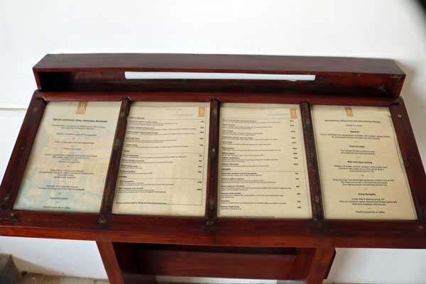 ヘリタンス アフンガッラ レストラン Heritance ahungalla restaurant menu