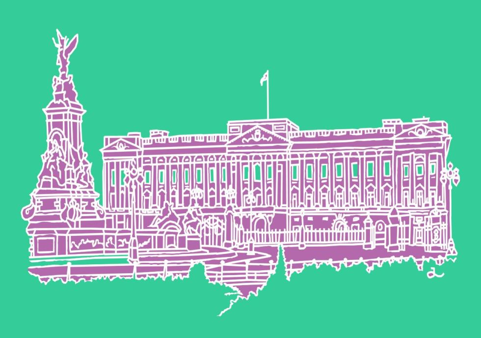 PA4 Buckingham Palace (Emerald, Violet and White) Canvas