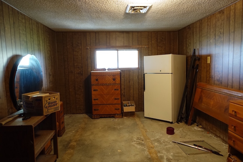 Former garage converted to the master bedroom in the 1970's.