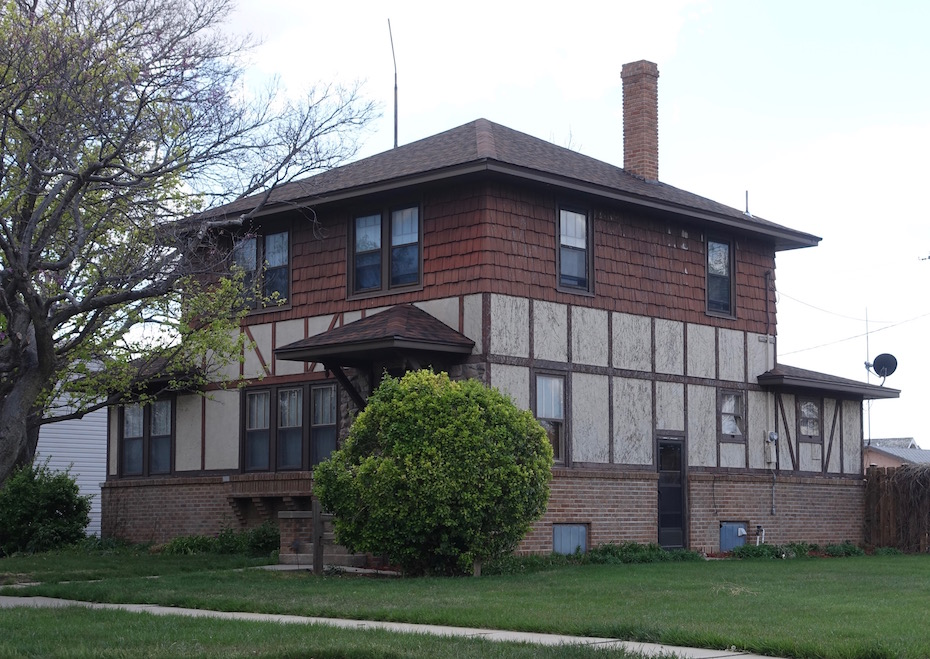 Late Prairie-Style House Transitioned to Mock Tudor